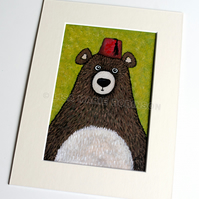 Barnabas the Fez wearing Bear - 6 x 4 inch painting
