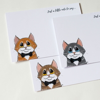 Cats Wearing Bow Ties - 6 Postcards with Envelopes