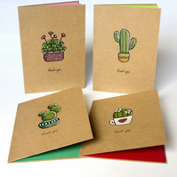 Hand Illustrated Cacti Thank You Cards (Set of 4)