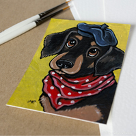 Dachshund Sausage Dog in a Beret - Original ACEO