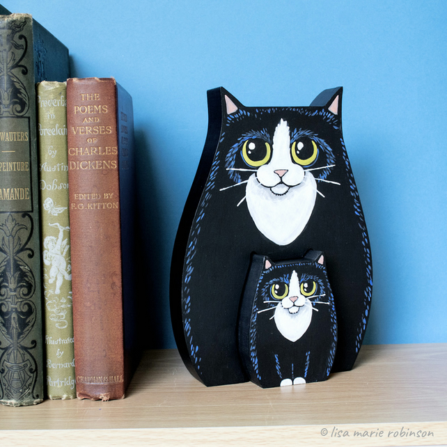 Tuxedo Cat and Kitten Shelf Sitter Ornament