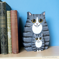 Tabby Cat and Kitten Shelf Sitter Ornament