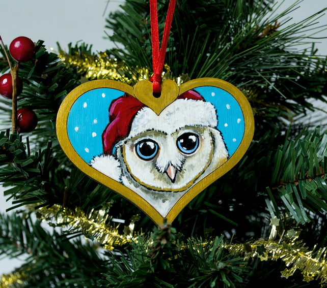 Hand Painted Barn Owl Christmas Tree Decoration
