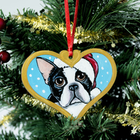 Hand Painted Boston Terrier Christmas Tree Decoration