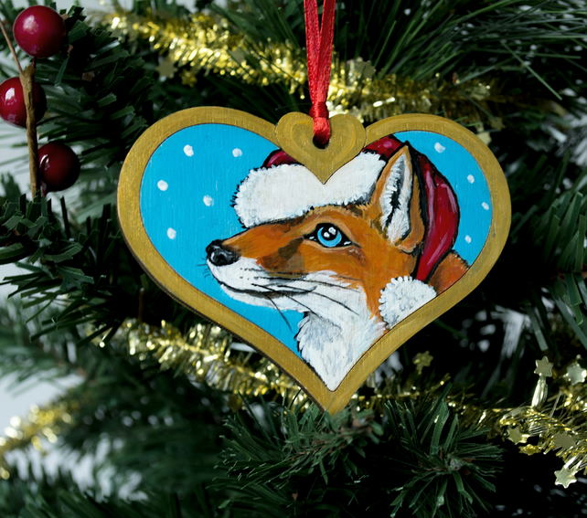 Hand Painted Red Fox Christmas Tree Decoration