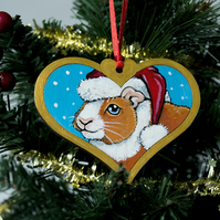 Hand Painted Guinea Pig Christmas Tree Decoration