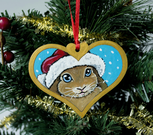 Hand Painted Rabbit Christmas Tree Decoration
