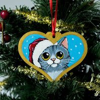 Hand Painted Grey Tabby Cat Christmas Tree Decoration