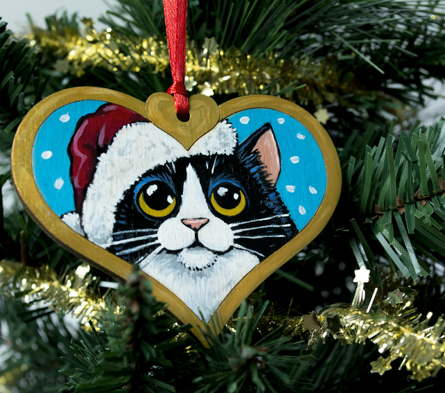 Hand Painted Tuxedo Cat Christmas Tree Decoration