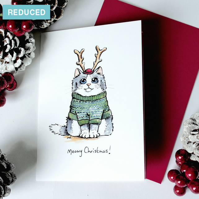 REDUCED - Meowy Christmas - Cat Christmas Card