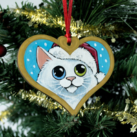 Hand Painted Odd Eyed White Cat Christmas Tree Decoration