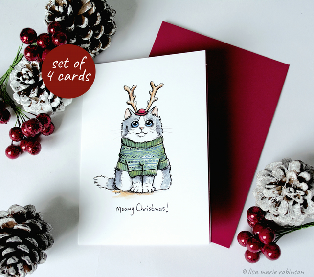 Meowy Christmas Cat Card Set - 4 Cards, 2 Designs