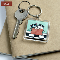 SALE - Two Kittens in a Box Keyring
