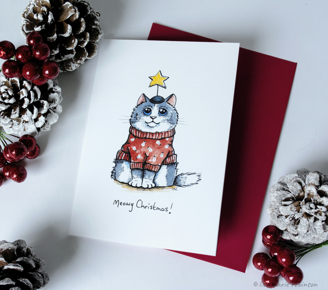Meowy Christmas - Cat Christmas Card