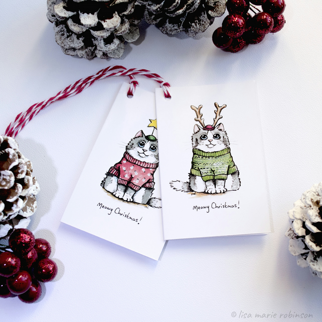 Meowy Christmas Cat Gift Tags (Pack of 8)