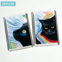 REDUCED - Angel Cat Fridge Magnets - Set of Two