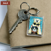 SALE - Polar Bear and Tuxedo Cat Small Keyring