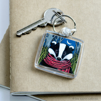 Badger Wearing a Scarf Keyring