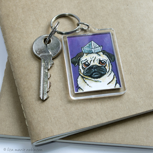 Pug in a Paper Hat Keyring