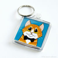 Ginger Cat Wearing a Bow Tie Keyring