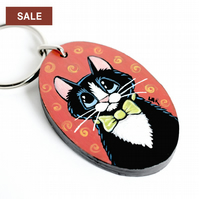 SALE - Dapper Cat in a Bow Tie - Handpainted Wooden Keyring