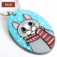 SALE - Winter Cat with Scarf - Handpainted Wooden Keyring