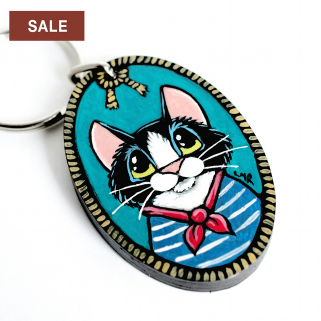 SALE - Sailor Cat - Handpainted Wooden Keyring OOAK