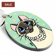 SALE - Lady Cat with Pearl Necklace - Handpainted Wooden Keyring