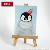 SALE - Original ACEO - Emperor Penguin Chick in a Party Hat