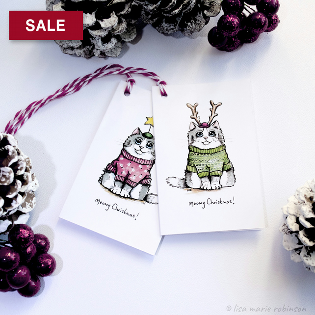 SALE - Meowy Christmas Cat Gift Tags (Pack of 8)