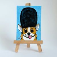 Derpy Corgi London Guard Original ACEO art