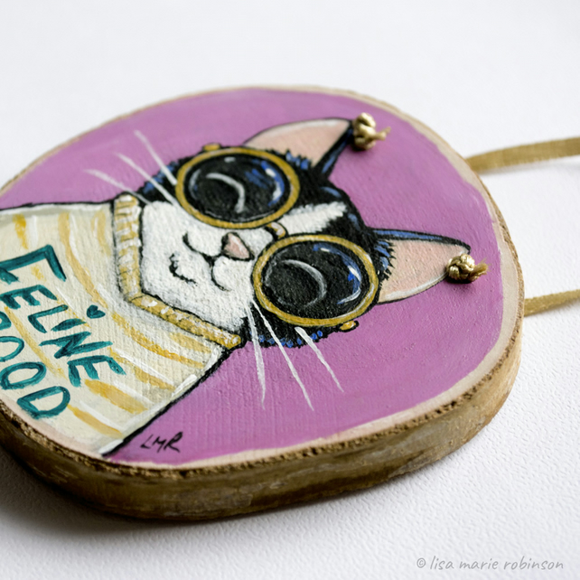 Feline Good - Cat Painting on Wood Slice
