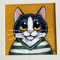 Tuxedo Cat in Striped Shirt - Mini Painting