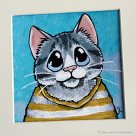 Tabby Cat in Striped Shirt - Mini Painting