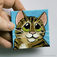 Tabby Cat Mini Canvas Magnet