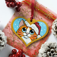 Hand Painted Orange Tabby Cat Christmas Tree Decoration
