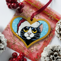 Hand Painted Black & White Cat Christmas Tree Decoration