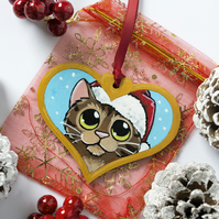 Hand Painted Brown Tabby Cat Christmas Tree Decoration
