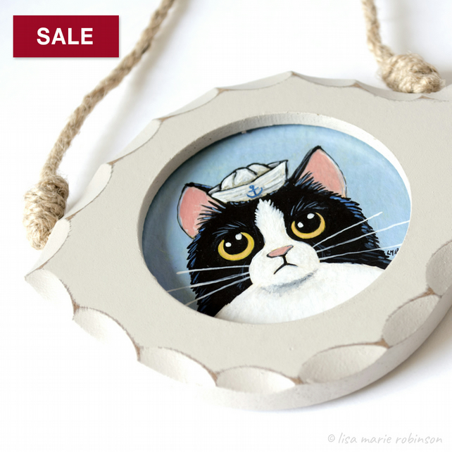 SALE Coco the Sailor Cat - Mini 3 inch Original Painting in Fish Frame