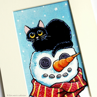 Black Cat and Snowman - Original Small Painting