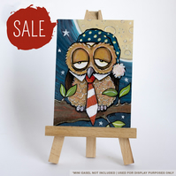 SALE - Original ACEO - Whimsical Sleepy Owl with Nightcap & Tie
