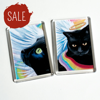 SALE - Angel Cat Fridge Magnets - Set of Two