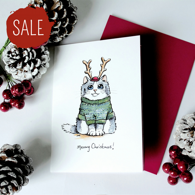 SALE - 4 Card Set - Meowy Christmas Cats - 2 Designs