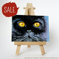 SALE - Original ACEO - Black Cat with Yellow Eyes