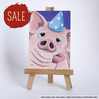 SALE - Original ACEO - Pig in a Party Hat