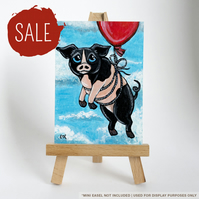SALE - Original ACEO - Flying Pig with Red Balloon - Fun Animal Art