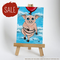SALE - Original ACEO - Flying Pig with Red Balloon - Whimsical Animal Art