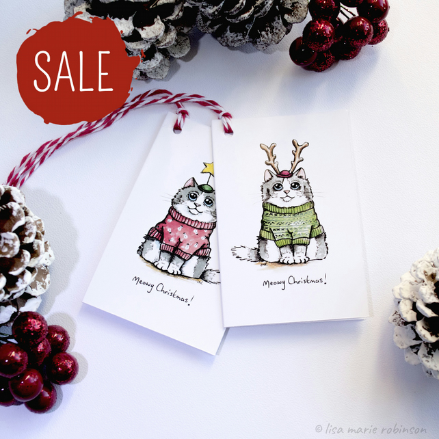 SALE - 8 Meowy Christmas Cat Gift Tags