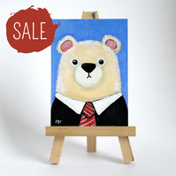 SALE - Original ACEO Art - Polar Bear wearing Black Suit and Tie