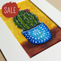 SALE - Flowering Cactus in Blue Pot - 5 x 3 Inch Mini Painting